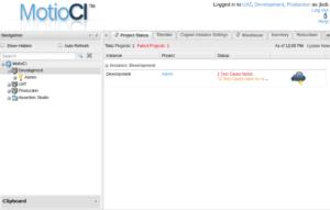 MotioCI home screen showing Cognos instances