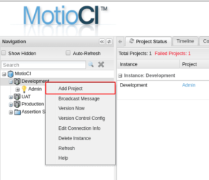 create a new project in MotioCI