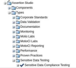 sensitive data compliance testing assertion type