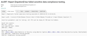 Email message sent by the assertion of the failed test case