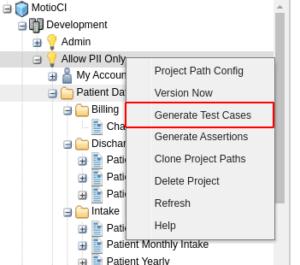 MotioCI generate test cases screen
