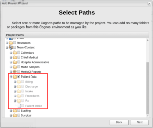 selecting paths from Cognos environment in MotioCI