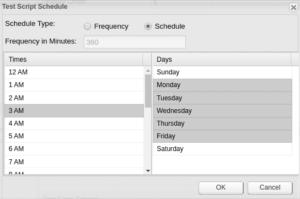 MotioCI test script schedule