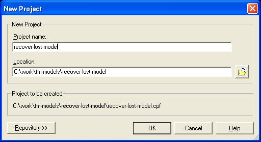 recover Cognos Framework Manager Models