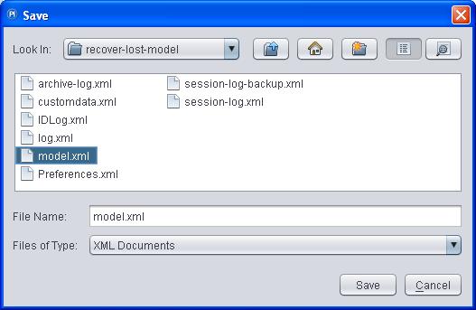 save recovered Cognos framework model