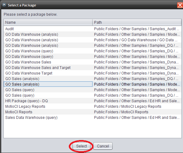 MotioPI framework model package select
