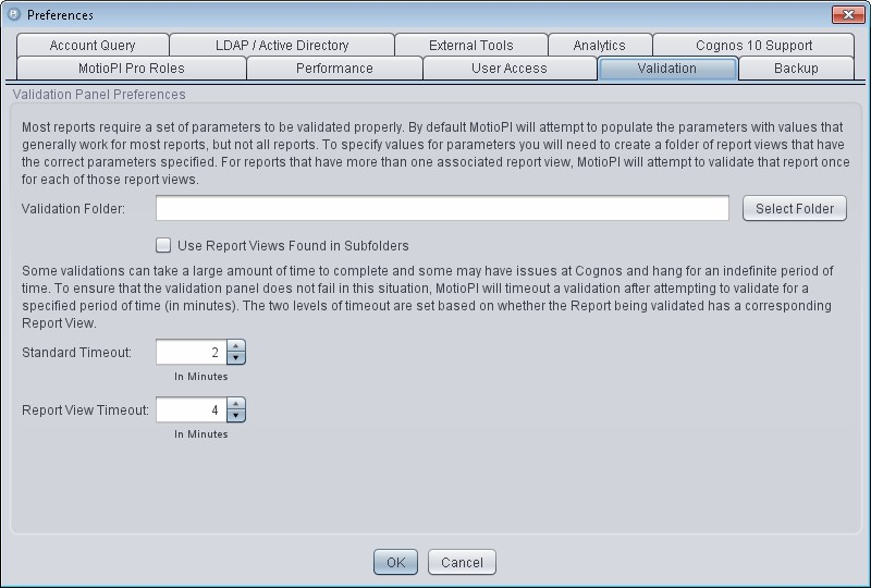 MotioPI cognos validation tab