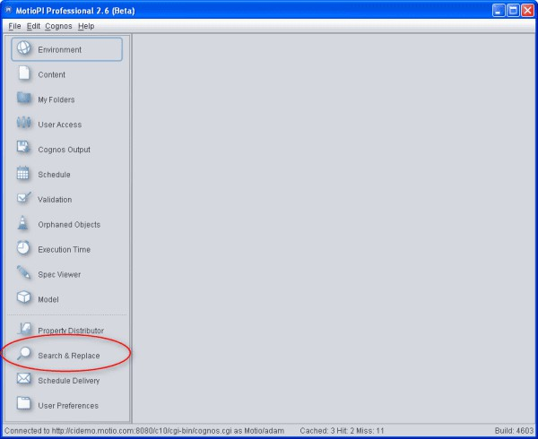 Mass Update Cognos using Search and Replace