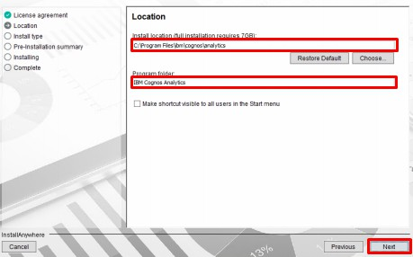 select install location for optional Cognos gateway