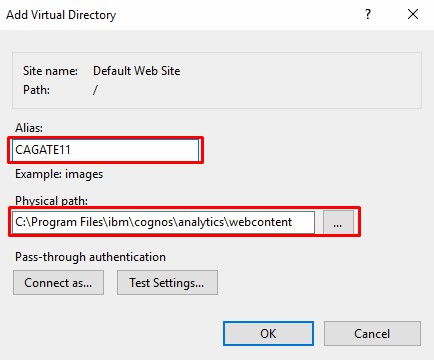 add virtual directory Cognos