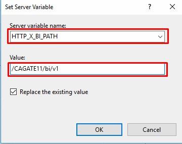 set server variable Cognos Analytics