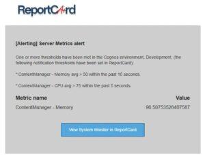 ReportCard server metrics alert